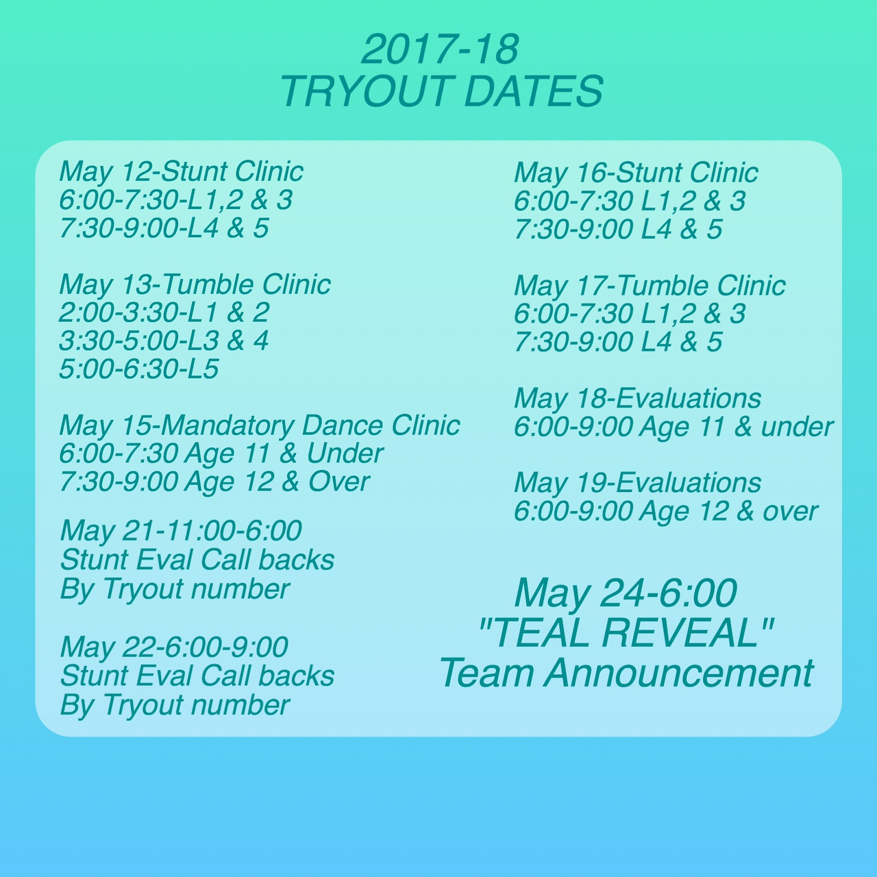 Tryout Info 17-18